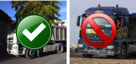 Camions acceptés sur les sites ECT