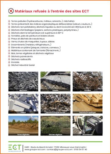 liste des matériaux refusés à l'entrée des sites ECT
