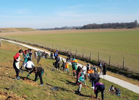 Des enfants plantent le verger du futur parc créé par ECT à Moissy Cramayel 77