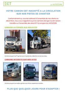 Camions autorisés et interdits sur nos sites